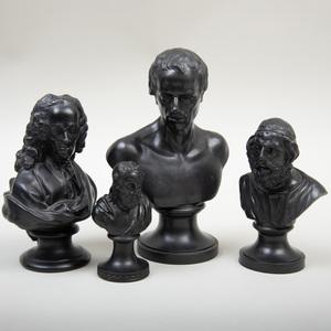 Group of Four Wedgwood Black Basalt Busts of Men
