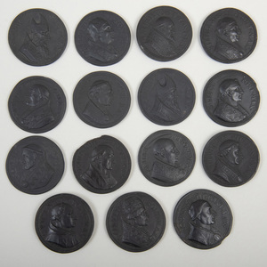 Group of Fifteen Wedgwood Black Basalt Medallions of Popes