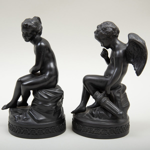 Pair of Wedgwood Black Basalt Figures of Cupid and Psyche