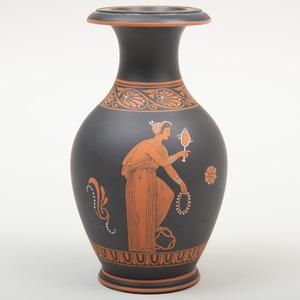 Wedgwood Black Basalt Encaustic Decorated Small Vase