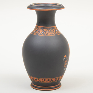 Wedgwood Black Basalt Encaustic Decorated Small Vase