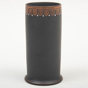 Wedgwood Black Basalt Encaustic Decorated Spill Vase