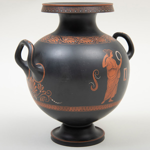 Wedgwood Black Basalt Encaustic Decorated Two Handle Vase