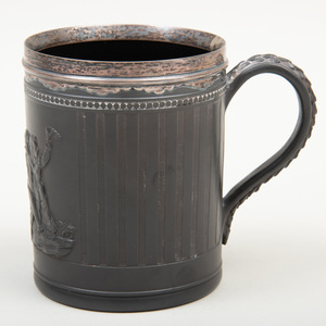 Wedgwood Black Basalt Silver-Mounted Tankard