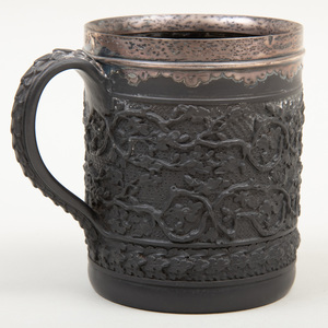 Wedgwood Black Basalt Silver-Mounted Mug