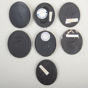 Group of Seven Wedgwood Black Basalt Portrait Medallions