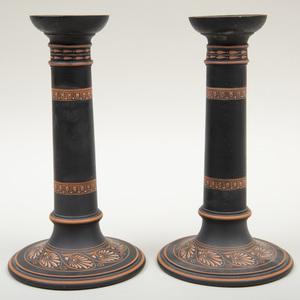 Pair of Wedgwood Black Basalt Encaustic Decorated Candlesticks