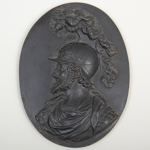Wedgwood Black Basalt Oval Portrait Medallion of Philip of Macedon