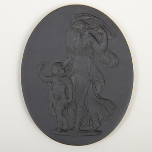 Wedgwood Black Basalt Oval Intaglio Medallion of the Marriage of Cupid and Psyche