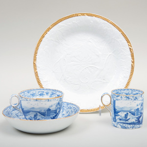 Wedgwood Blue Transfer Printed Porcelain Trio and a Grapeleaf Molded Porcelain Plate