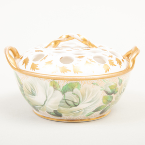 Wedgwood Porcelain Two Handle Violet Basket and Pierced Cover