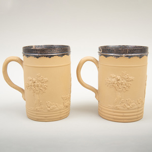 Two Wedgwood Caneware Silver-Mounted Mugs