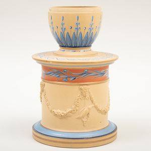 Wedgwood Caneware Encaustic Decorated Footed Inkpot