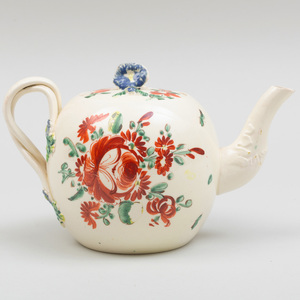English Painted Creamware Teapot and Cover, Probably Leeds