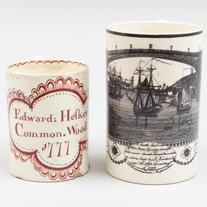 English Creamware Transfer Printed Mug and an Iron Red Painted Mug