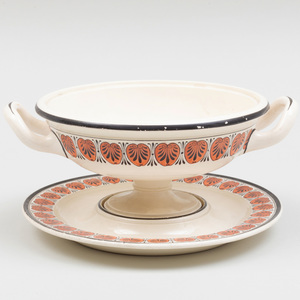 Wedgwood Creamware Footed Bowl and Stand Painted with Classical Motifs