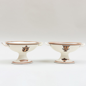 Pair of Wedgwood Creamware Two Handle Compotes Painted with Classical Motifs