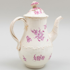 Wedgwood Puce Decorated Creamware Coffee Pot and Cover