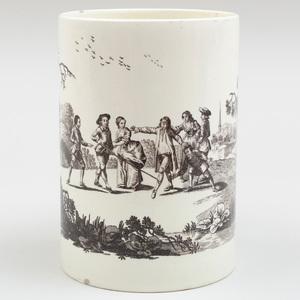 Wedgwood Black Transfer Printed Creamware Mug 'Blind Man's Bluff'