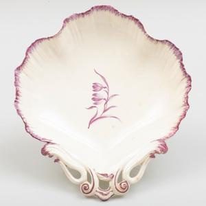 Wedgwood Puce Decorated Creamware Shell Shaped Dish