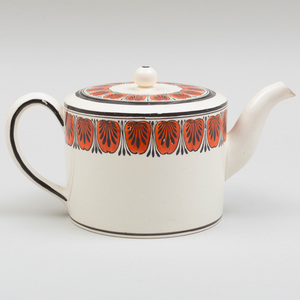 Wedgwood Creamware Teapot and Cover Painted with Anthemion Border