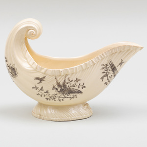 Wedgwood Transfer Printed Creamware Shell Shaped Sauceboat