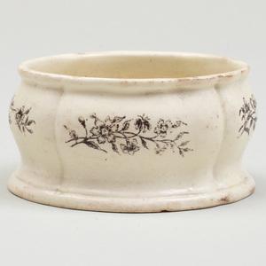 Wedgwood Black Transfer Printed Creamware Shaped Oval Salt