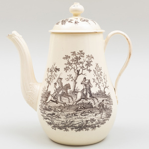 Wedgwood Transfer Printed Creamware Coffee Pot and Cover Decorated with a Hunting Scene