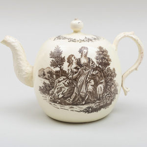 Wedgwood Black Transfer Printed Creamware Teapot and Cover