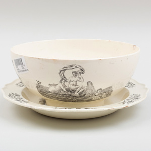 Wedgwood Black Transfer Printed Creamware Punch Bowl and Soup Plate