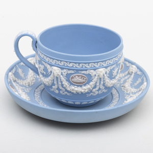 Wedgwood Three Color Jasperware Cup and Saucer