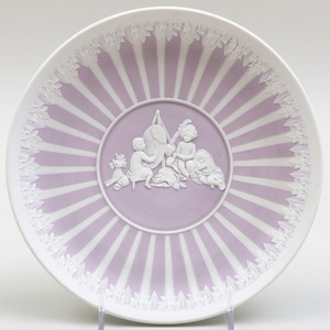 Wedgwood Lilac Jasper Dip Circular Dish Decorated with 'The Infant Academy'