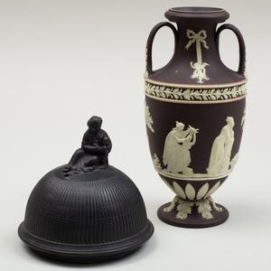 Small Wedgwood Black and White Jasperware Vase