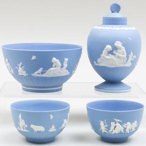 Group of Wedgwood Blue Jasperware Tea Wares