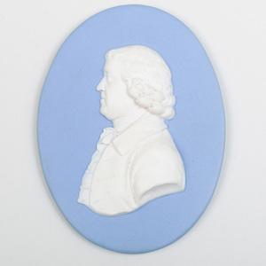 Wedgwood Blue and White Jasperware PortraitPlaque of Josiah Wedgwood