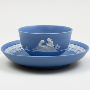 Wedgwood Blue and White Jasperware Teabowl and Saucer