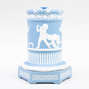 Wedgwood Blue and White Jasper Dip Cylindrical Vase and Cover