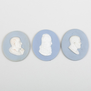 Group of Three Wedgwood & Bentley Blue and White Oval Portrait Medallions of Philosophers
