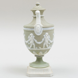 Wedgwood Green and White Jasperware Two Handle Vase and Cover