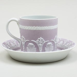 Wedgwood Lilac Jasperware Coffee Can and Saucer