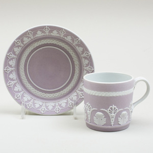 Wedgwood Lilac Jasperware Coffee Can and Saucer