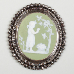 Wedgwood Green and White Jasperware Oval Medallion of Poor Maria