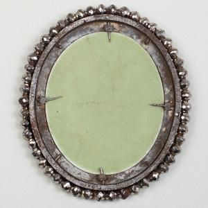 Wedgwood Green and White Jasperware Oval Medallion of Poor Maria