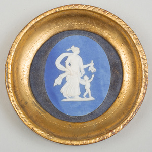 Wedgwood & Bentley Blue and White Jasperware Oval Medallion of Cupid and Psyche