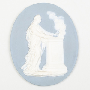 Wedgwood & Bentley Blue and White Jasperware Oval Medallion of a Roman Figure