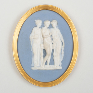 Wedgwood & Bentley Blue and White Jasperware Oval Medallion of The Three Graces