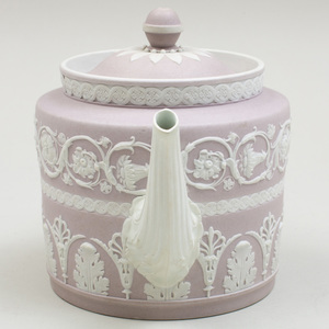 Wedgwood Lilac and White Jasperware Teapot and Cover