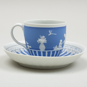 Wedgwood Blue and White Jasperware Cup and Saucer