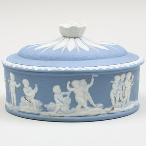 Wedgwood Blue and White Jasperware Oval Paint Box and Cover