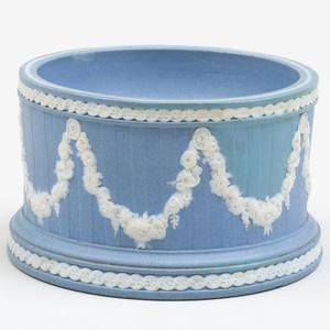 Wedgwood Blue and White Jasperware Cylindrical Salt